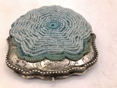 Antique hand embroidered beaded purse with decorated Dutch silver clasp - approx. 1900