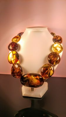Autumn- green tint colours Baltic Amber necklace, length 56 cm, 193 gram