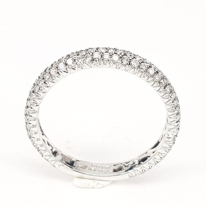 Classic Band Ring in 1 carat White Diamond in 18 kt White Gold - ringsize: 7.75/56
