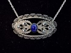 .925 Silver necklace with lapis lazuli and marcasites - Art Deco - 42.5 cm