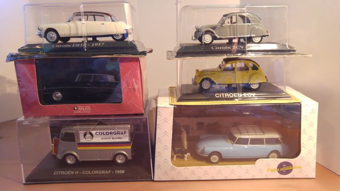Altaya - Atlas - Scale 1/43 - Lot 6x Citroën: Citroën DS19 - 1957 white/black - Citroën DS21 - 1966 black - Citroën 2CV - grey 1957 - Citroën 2CV - 1969 yellow - Citroën ID19 Break Vétérinaire - 1962 light blue - Citroën H Colorgraf - 1958 grey