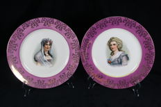 Moritz Zdekauer Austria pair of porcelain plates with the images of Hortense and Josephine (1884 – 1909)