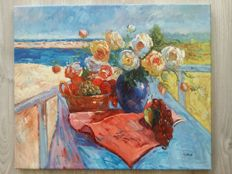 3 x unknown (20th century) - still lifes 2 x flowers and 1 x fruit