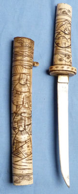 Original Late-19th Century Japanese Carved Bone Tanto Knife Dagger and Scabbard