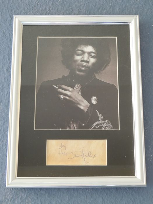 Stunning Rare Jimmy Hendrix  Memorial Signed Autograph Signed Picture - Stay Free - Framed  Reprinted Directly From The Original