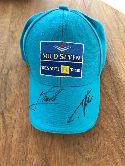 Mild Seven Renault F1 cap signed by Fernando Alonso