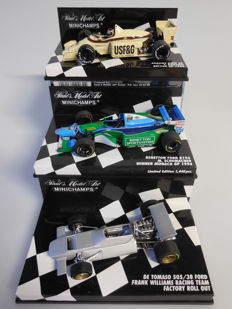 Minichamps - Scale 1/43 - Lot with3 sports car models: Arrows BMW, Benetton Ford & De Tomaso Ford