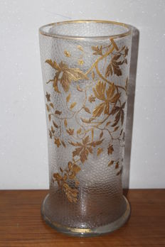 Large acid-etched vase with gilt floral decor
