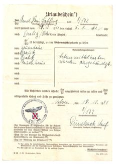 Freedom permit - Special certificate - Red cross certificate - Dress ticket
