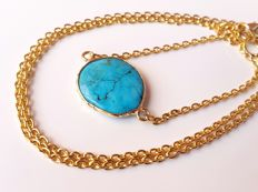 18K gold chain necklace, inlaid with turquoise, handiwork.