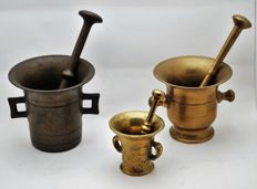Three mortars, the Netherlands late 1800 and early 1900