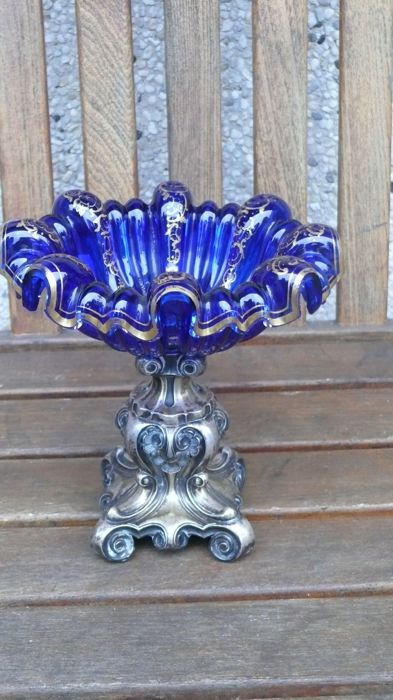 A blue and gold-plated glass dish on a silver pedestal, Germany, ca. 1900