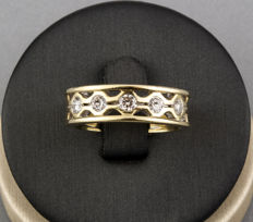Yellow gold 18 kt - Wide cocktail ring - Brilliant cut diamonds 1.00 ct - Cocktail ring size 15 (SP)