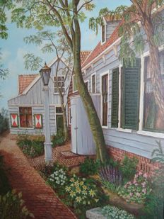 Bart Rietman (1933) -  Straatje in Broek in Waterland.