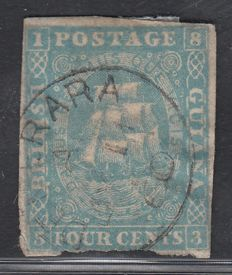 British Guiana - 1860, 4 cent blue, Stanley Gibbons 21