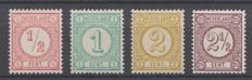 The Netherlands 1894 - Number printed stamps, new print - NVPH 30b/33a, with inspection certificate