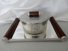 Large biscuit tin on Art Deco tray with mirror