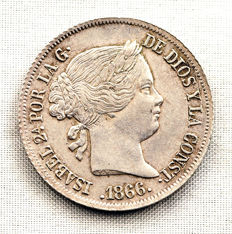 Spain - Isabella II - 40 cents of escudo in silver - 1866 - Madrid