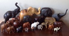 Collection of 21 elephants in various materials