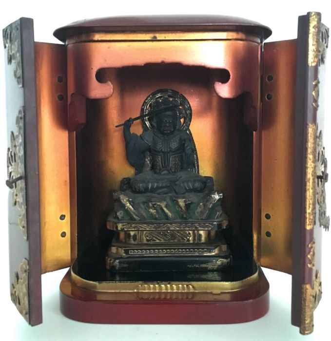 Rare old Buddhist butsudan or home altar with Myōken Bodhisattva 妙見菩薩 - Japan - ca. 1850