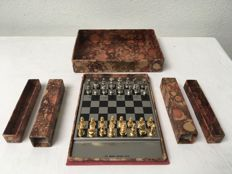 Beautiful compact chess set in silver and gold colour