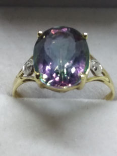 Large Vintage 3.74cts Watermelon Topaz accented with 2 SI grade Wesselton Diamonds in yellow gold solitaire.