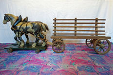 Children's toys - farmer's cart pulled by 2 horses - Baden - Germany - ca. 1900
