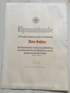Honorary certificate of the DAF German Labour Front