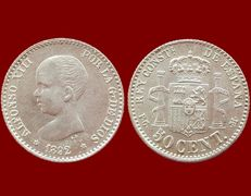 Spain - Alfonso XIII, 50 silver cents, 1892 - 18 mm / 2.5 g