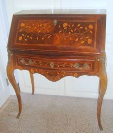 Marquetry Writing Desk in Louis XV Style, circa 1900