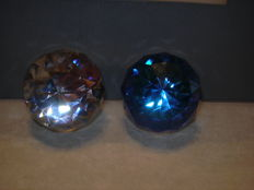 Swarovski - SCS Silver Crystal Paperweight rounded Bermuda Blue & Crystal Cal