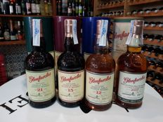 4 bottles - Glenfarclas 21 years, Glenfarclas 15 years, Glenfarclas 12 years and Glenfarclas 2007