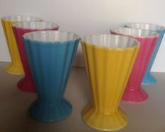 Villeroy & Boch - set of 6 vintage ice cream cups in pastel colours