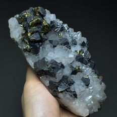 Galena & Pyrite on White Quartz crystals - 14 x 6 x 6  cm - 805 g