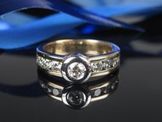0.75 ct brilliant IF / TC - 585 / 14 kt - rivière ring - no reserve price -