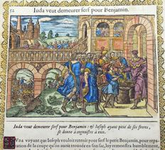 2 prints attributed to Jean Le Clerc (1587/88-1633) - Juda vent demeurer serf pour Benjamin & La coupe de Joseph est trouuee au sac de Benjamin [A Silver Cup in a Sack, Genesis 44-45] - 2 handcoloured woodcuts on one folio leaf (recto and verso) - 1614