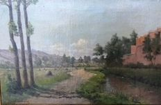 Eduard van den Peereboom (19/20th century) - A view on country road/river/factory