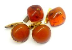 Vintage cognac Amber: two pair of cuff links, 20th century, 25 х 20, 20 mm