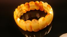 Genuine egg yolk colour Baltic Amber bracelet,  diameter 59 mm, 20 grams