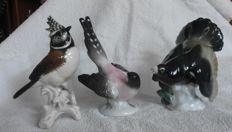 Three Porcelain Birds, Karl Ens Volkstedt- hand painted