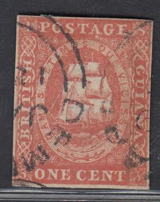 British Guiana - 1853, 1 cent Red, Stanley Gibbons 12