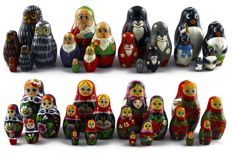 Lot 8 x 5 pieces unique  Matryoshka doll set from Russia