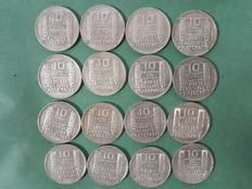 France – 10 Francs 1929/1939 'Turin' (lot of 16 coins) – Silver