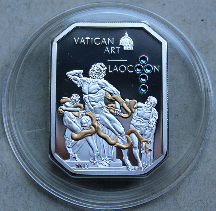 Cook Islands - 5 Dollars 2011 'Vatican Art - Laocoon' with Swarovski Crystal - 25 g silver