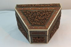 Beautiful wood carving post/letters desk cabinet