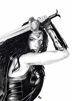 Wonder Woman by Diego Septiembre - Original Charcoal and Graphite Drawing