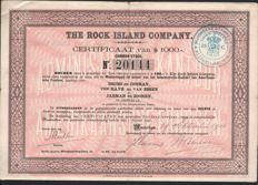 Lot with 50 items - The Rock Island Company - Amsterdam 1906 - 1912 - Certificate of $ 1000 Common Stock