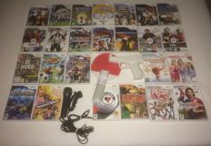 25 Nintendo Wii games + accessories (Wired Nunchuk, Gun, Table Tennis Racket, Logitch Microphone