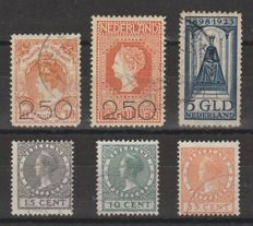 Netherlands 1920/1924 - Government Jubilee, Clearance sale and Exhibition - NVPH 104/105, 131, 136/138