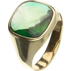 14 kt Yellow gold ring set with green quartz. - Ring size: 19.5 mm